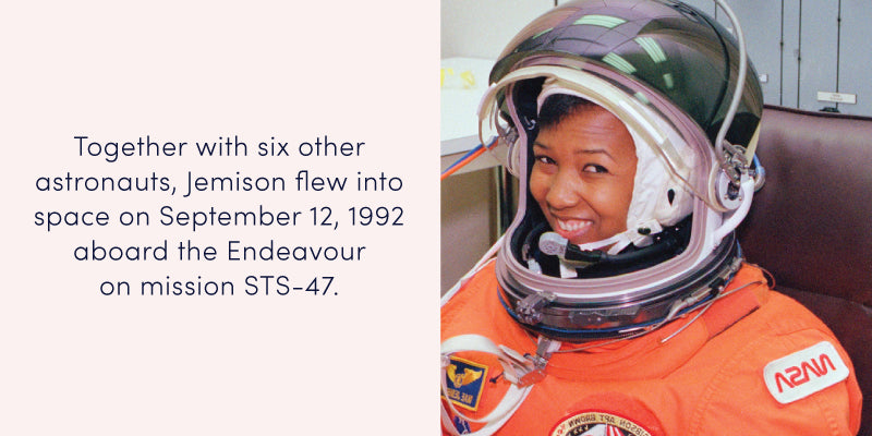 Mae Carol Jemison: First African American Woman Space Traveler.