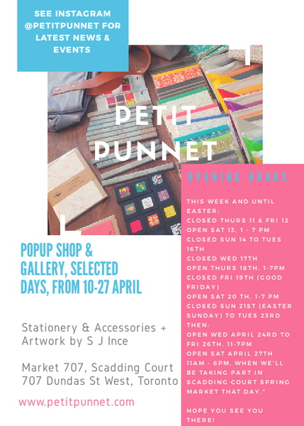 Petit Punnet is back from Winter Break! And we're popping up all over T.O. this Spring!