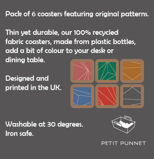 Petit Punnet Set of 6 Fabric Coasters No. 1 (Deep Shades)