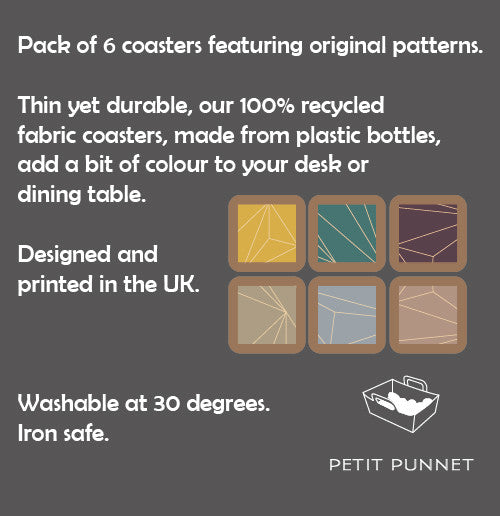 Petit Punnet Set of 6 Fabric Coasters No. 2 (Cool Shades)