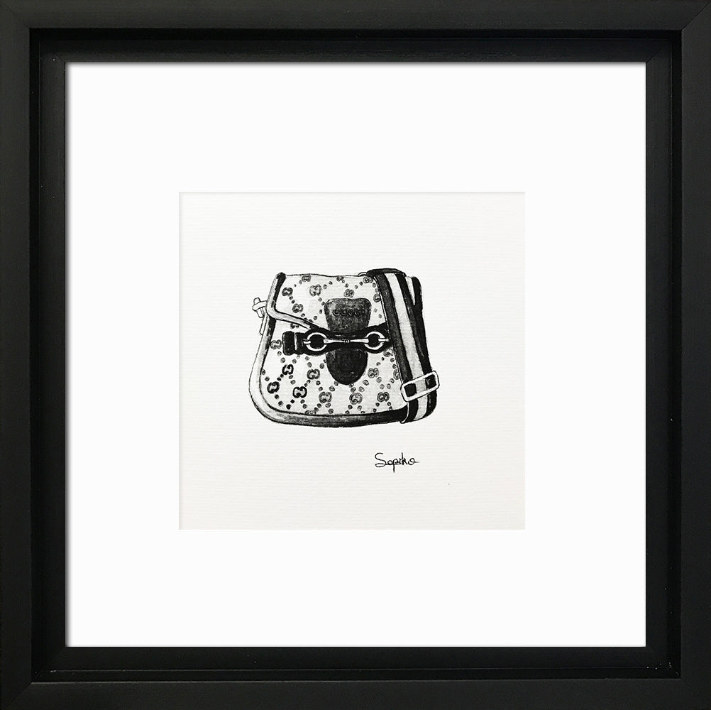 Designer Bags - 'Gucci' Black Framed Art Picture 31 x 31cm - photoframesandart