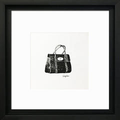 Designer Bags - 'Mulberry' Black Framed Art Picture 31 x 31cm - photoframesandart