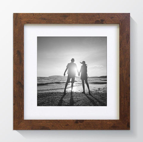 "Rustic Wood Effect Square Photo Frame 10x10"" For 7x7"" With Soft Cream Mount"