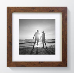 "Rustic Wood Effect Square Photo Frame 10x10"" For 7x7"" With Soft Cream Mount - photoframesandart"
