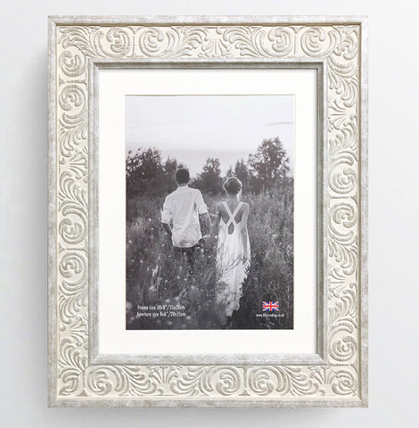 Shabby Chic Provence Cream / Grey Distressed Ornate Wedding Photo Frame 10x8'' For 8x6'' With Soft Cream Mount