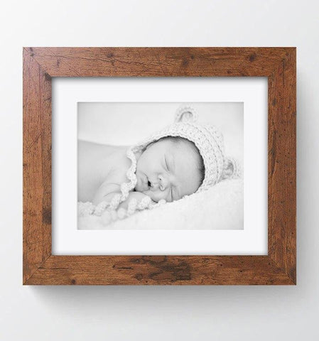 "Rustic Wood Effect Photo Frame 10x8"" For 8x6"" With Soft Cream Mount"