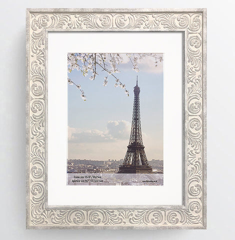 Shabby Chic Provence Cream / Grey Distressed Ornate Wedding Photo Frame 12x10'' For 9x7'' With Soft Cream Mount