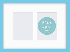 "Olympia Glossy Aqua Blue Photo Frame 12x10"" Multi For x2 6x4'' With Soft Cream Mount - photoframesandart"