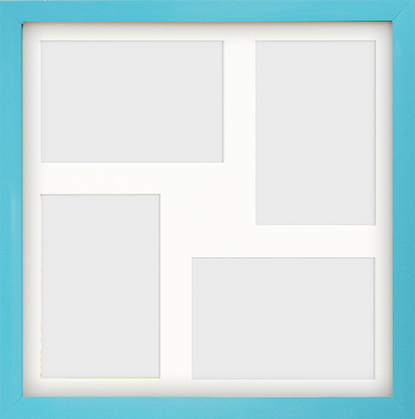 "Olympia Glossy Aqua Blue Photo Frame 12x12"" Multi For x4 6x4'' With Soft Cream Mount - photoframesandart"