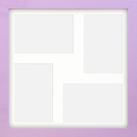 "Olympia Glossy Lilac Photo Frame 12x12"" Multi For x4 6x4'' With Soft Cream Mount"