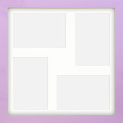 "Olympia Glossy Lilac Photo Frame 12x12"" Multi For x4 6x4'' With Soft Cream Mount - photoframesandart"