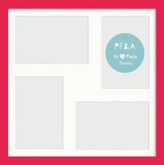 "Olympia Glossy Cerise Pink Photo Frame 12x12"" Multi For x4 6x4'' With Soft Cream Mount - photoframesandart"