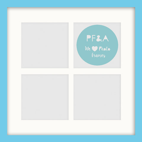 "Olympia Aqua Blue Instagram Multi Photo Frame 12x12"" For x4 4x4"" With Soft Cream Mount - photoframesandart"