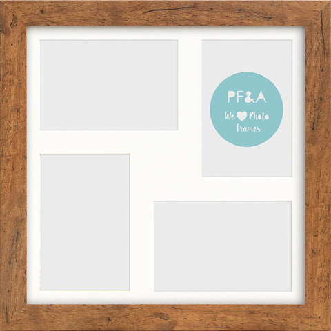 "Rustic Wood Effect Multi Photo Frame 12x12"" For x4 6x4"" With Soft Cream Mount"