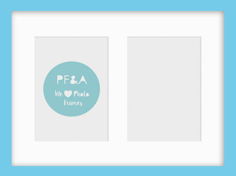 "Olympia Aqua Blue Photo Frame 15x11"" Multi For x2 7x5'' With Soft Cream Mount"