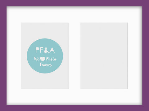 "Olympia Purple Photo Frame 15x11"" Multi For x2 7x5'' With Soft Cream Mount"