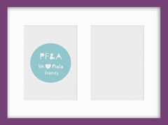 "Olympia Purple Photo Frame 15x11"" Multi For x2 7x5'' With Soft Cream Mount - photoframesandart"