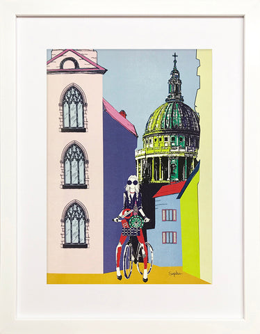 City Girls - 'St. Pauls Cathedral' White Framed Art Picture 44 x 34cm