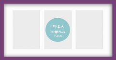 "Olympia Glossy Purple Photo Frame 16x9"" Multi For x3 6x4'' With Soft Cream Mount - photoframesandart"