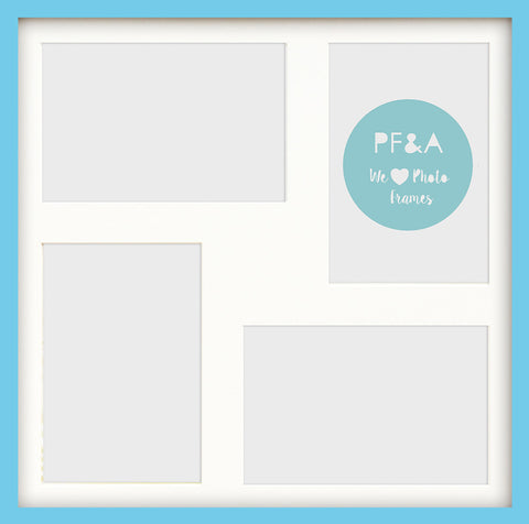 "Olympia Aqua Blue Photo Frame 17x17"" Multi For x4 7x5'' With Soft Cream Mount"