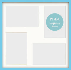 "Olympia Aqua Blue Photo Frame 17x17"" Multi For x4 7x5'' With Soft Cream Mount - photoframesandart"