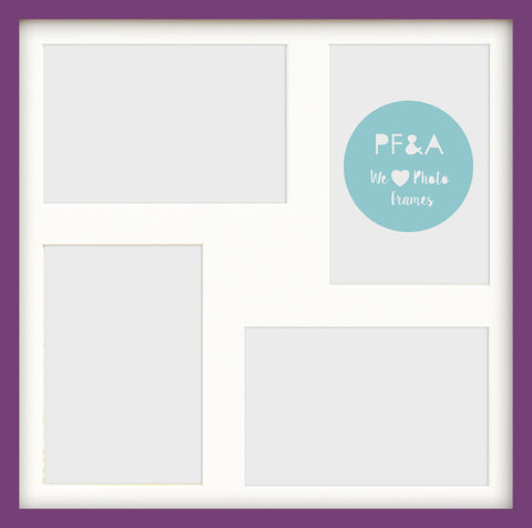 "Olympia Purple Photo Frame 17x17"" Multi For x4 7x5'' With Soft Cream Mount"