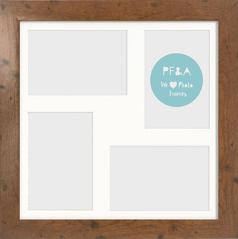 "Rustic Wood Effect Multi Photo Frame 17x17"" For x4 7x5"" With Soft Cream Mount"