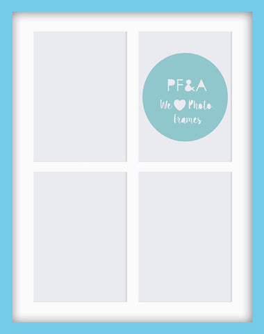 "Olympia Glossy Aqua Blue Multi Photo Frame 19x15"" x4 8x6'' With Soft Cream Mount"
