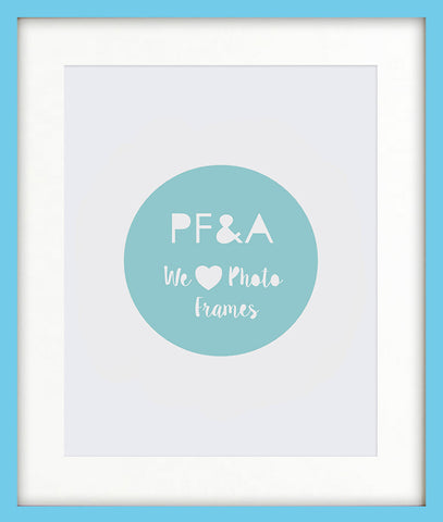 "Olympia Aqua Blue Photo Frame 20x16"" For A3 With Soft Cream Mount"
