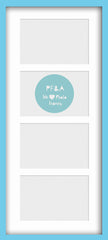 "Olympia Glossy Aqua Blue Photo Frame 20x8.5"" For x4 6x4"" Multi With Soft Cream Mount - photoframesandart"