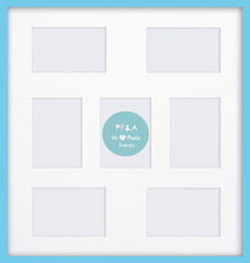 "Olympia Glossy Aqua Blue Photo Frame 22x19"" Multi With Soft Cream Mount - photoframesandart"