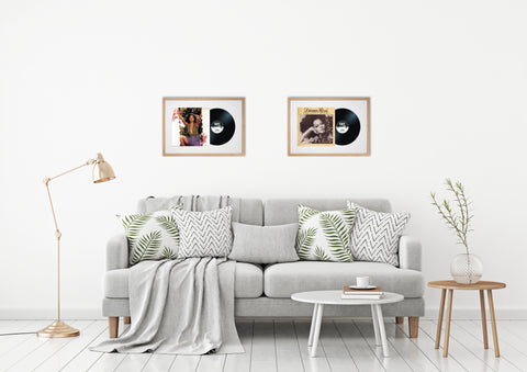 "12"" Vinyl LP Record and Album Cover Oak Frame with White Mount (25""x17"")"