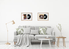 "12"" Vinyl LP Record and Album Cover Oak Frame with White Mount (25""x17"") - photoframesandart"