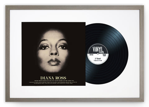 "12"" Vinyl LP Record and Album Cover Grey Frame with White Mount (25""x17"")"