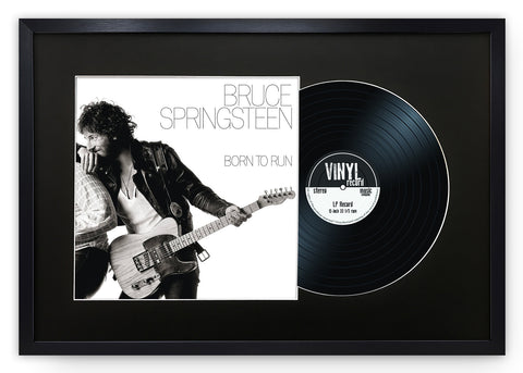 "12"" Vinyl LP Record and Album Cover Black Frame with Black Mount (25""x17"")"