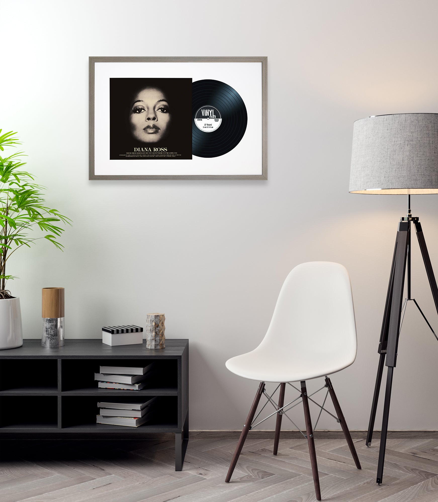 "12"" Vinyl LP Record and Album Cover Grey Frame with White Mount (25""x17"") - photoframesandart"