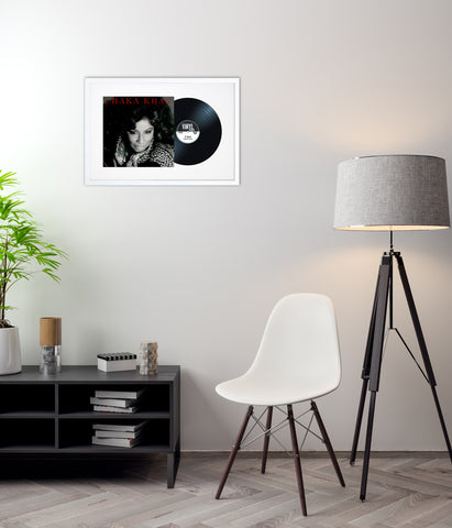 "12"" Vinyl LP Record and Album Cover White Frame with White Mount (25""x17"")"