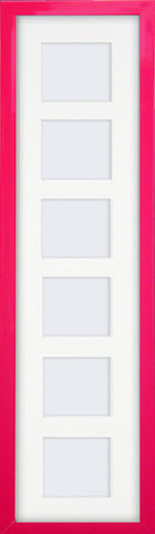 "Olympia Glossy Cerise Pink Photo Frame 26x6"" For x6 3x3'' Multi With Soft Cream Mount"