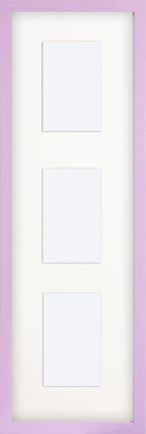 "Olympia Glossy Lilac Photo Frame 26x8"" For x3 6x4'' Multi With Soft Cream Mount"