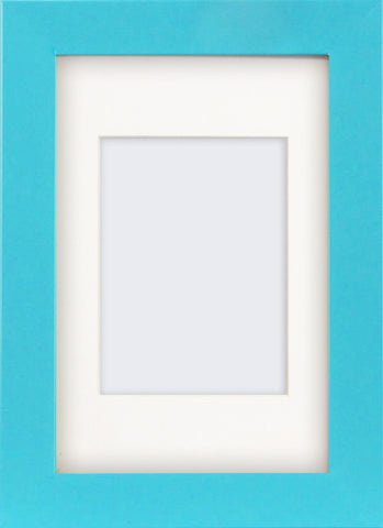 "Olympia Glossy Light Blue Photo Frame 6x4"" With Soft Cream Mount"