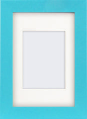 "Olympia Glossy Light Blue Photo Frame 6x4"" With Soft Cream Mount - photoframesandart"