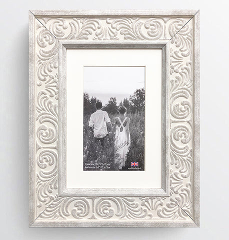 Shabby Chic Provence Cream / Grey Distressed Ornate Wedding Photo Frame 7x5'' For 5x3'' With Soft Cream Mount