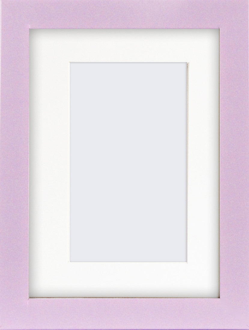 "Olympia Glossy Lilac Photo Frame 7x5"" for 5x3'' With Soft Cream Mount - photoframesandart"