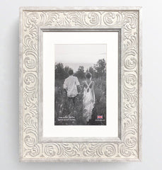 Shabby Chic Provence Cream / Grey Distressed Ornate Wedding Photo Frame 8x6'' For 6x4'' With Soft Cream Mount - photoframesandart