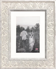 Shabby Chic Provence Cream / Grey Distressed Ornate Wedding Photo Frame 8x6'' For 6x4'' With Soft Cream Mount