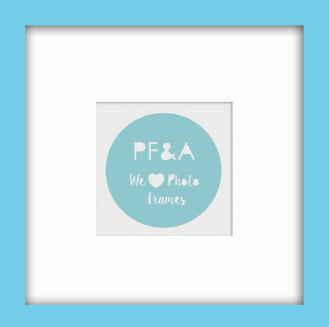 "Olympia Light Blue Instagram Photo Frame 8x8"" For 4x4"" With Soft Cream Mount"