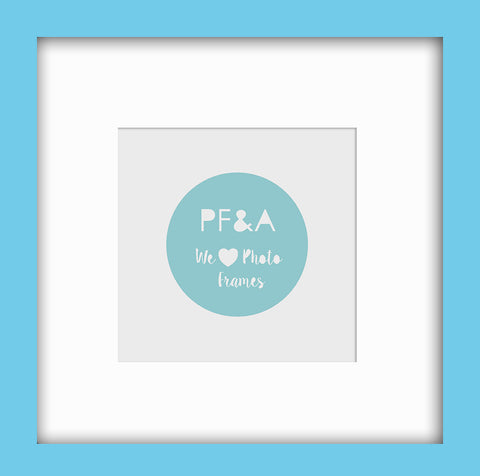"Olympia Glossy Light Blue Instagram Photo Frame 8x8"" For 5x5"" With Soft Cream Mount"