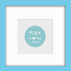 "Olympia Glossy Light Blue Instagram Photo Frame 8x8"" For 5x5"" With Soft Cream Mount - photoframesandart"