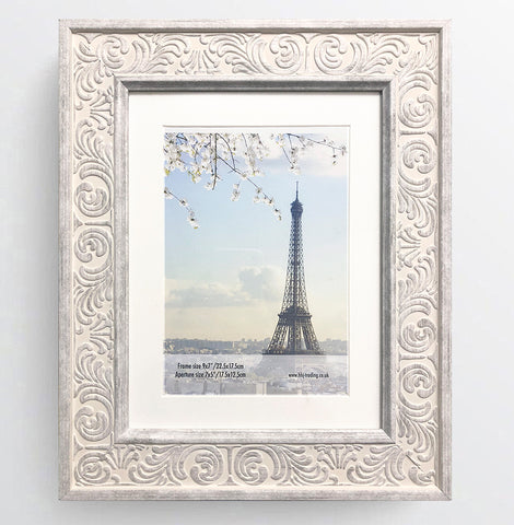Shabby Chic Provence Cream / Grey Distressed Ornate Wedding Photo Frame 9x7'' For 7x5'' With Soft Cream Mount