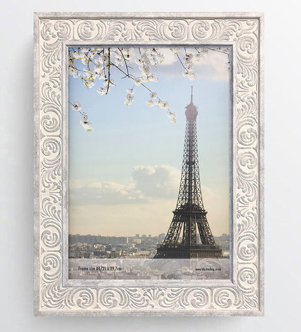 Shabby Chic Provence Cream / Grey Distressed Ornate Wedding Photo Frame A4